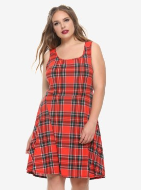 Red Plaid Skater Dress Plus Size