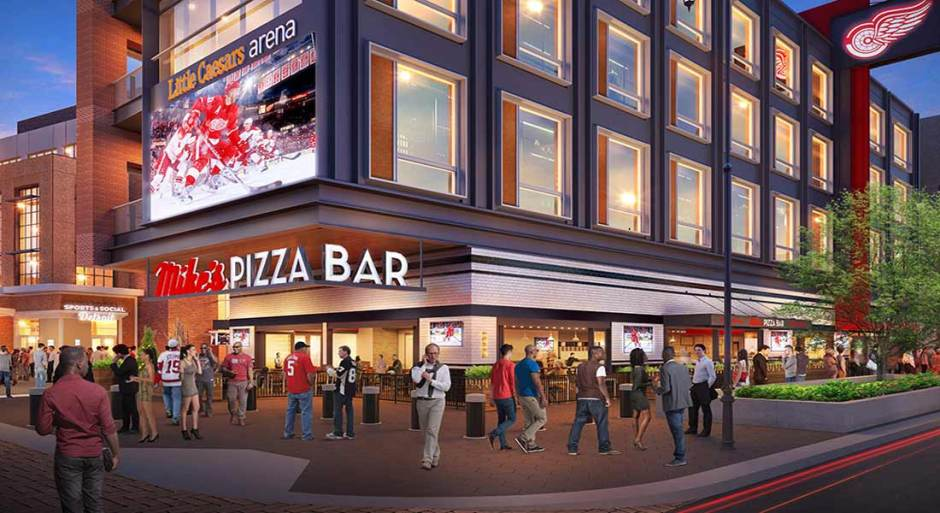 Mike's Pizza Bar and Sports & Social Detroit will open to the public in the southeast corner of Little Caesars Arena on September 12 before a performance by Kid Rock, the first ticketed event at Little Caesars Arena.