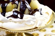 Willie Harcourt-Cooze's Poached Pear Pavlova with a Bitter Chocolate Sauce Recipe