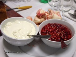Cream, meringue and pomegranate, dessert and wine matching at Leiths School of Food and Wine