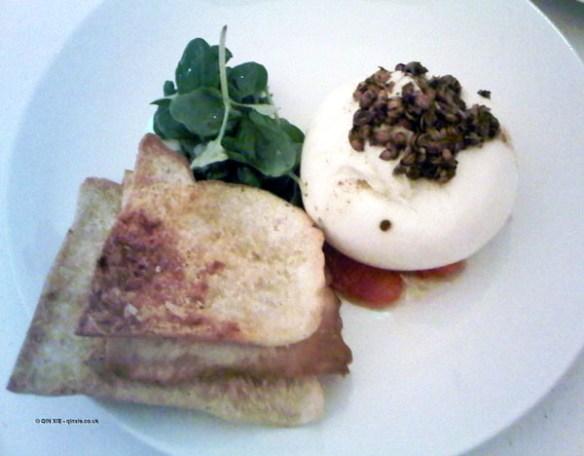Burrata with blood orange and coriander seeds at Nopi