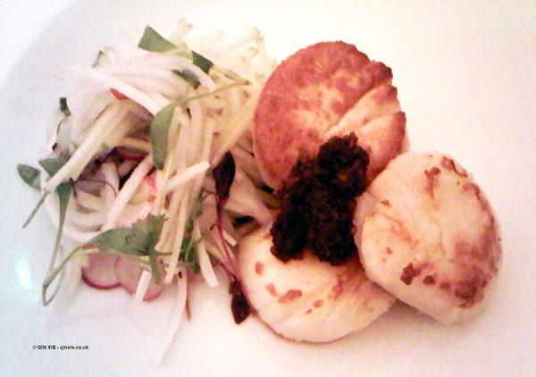 Seared scallops, pickled daikon, green apple at Nopi