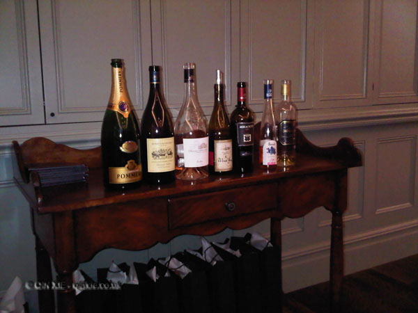 Wines at Harrods wine shop dinner