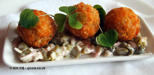 Crab balls at The Elephant Restaurant, Torquay