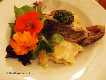 Plantation Pigs pork belly with Dauphinoise potatoes at Charles Lamb
