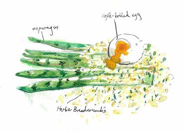 Poached egg on asparagus at Piccolino, Heddon Street