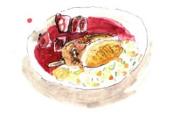 Illustration of Telamara Farm duck confit on a casserole of Tarbais beans and Lincolnshire roots at Philip Britten lunch, Fortnum & Mason