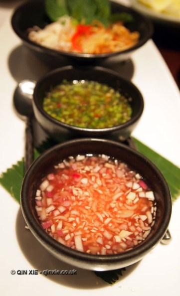 Thai vinaigrettes and shallot at Patara, Greek Street
