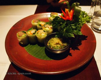 Rice paper rolls at Patara, Greek Street