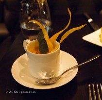 Cream of butternut squash soup with honey and sage and parsnip crisps at The Lawn Bistro
