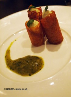 Ice cream tuille with mango and basil sauce at The Lawn Bistro