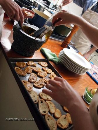 Making croutes at Fish in a Day, Food Safari