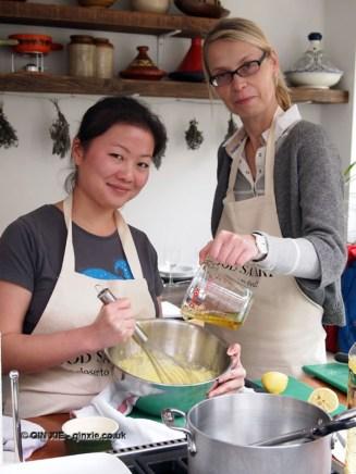 Qin Xie making mayonnaise at Fish in a Day, Food Safari
