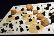 Scallops with hazelnut cream and amarone apples at Dego, London