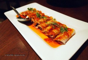 Chilled pork belly Sichuan style with garlic and chilli at Chinese Cricket Club