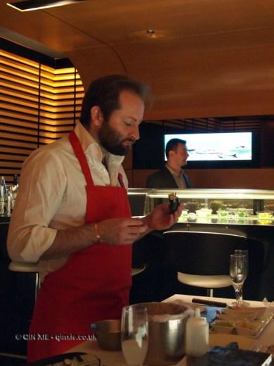 Tom Harrow eating sushi, sushi making at Ichi Sushi and Sashimi Bar