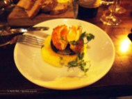 Open crispy poached egg, Tucker Browns black pudding and champ at Fox and Anchor, Clerkenwell