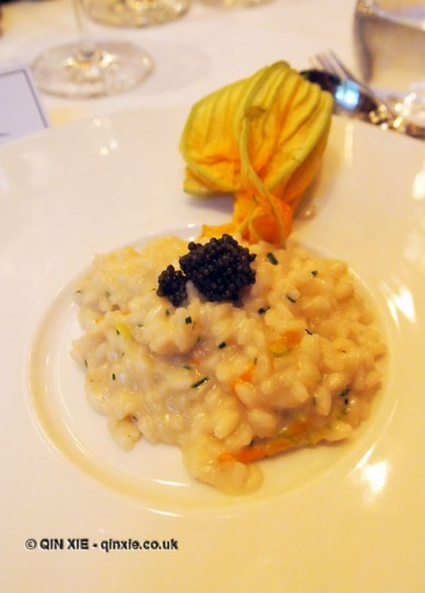Champagne infused risotto, Laurent Perrier Tous Les Sense at Massimo, The Corinthia, London