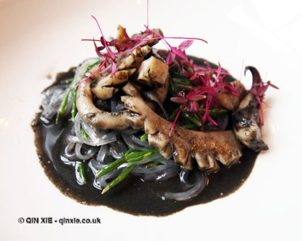 Cuttlefish ink laksa, grilled cuttlefish, harusame noodles, monksbeard, salted liquorice macadamia, natural wine dinner at The Modern Pantry