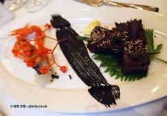 Raw langoustine, Mottra Osetra Caviar with bergamot citronette, marinated tuna with Sterlet caviar, Laurent Perrier Tous Les Sense at Massimo, The Corinthia, London
