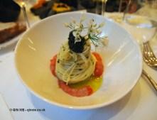 Spaghettini and Lake Garda olive oil, Mottra Osetra Caviar, Sicilian prawn and tomato water, Laurent Perrier Tous Les Sense at Massimo, The Corinthia, London