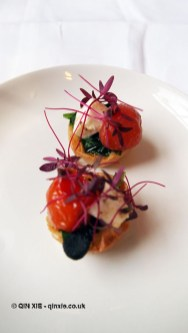 Wild garlic, black garlic & manouri briq tart, roast tomato & miso dressing, natural wine dinner at The Modern Pantry