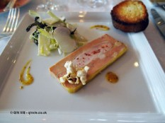 Terrine of foie gras and chicken breast served with crisp vegetable salad and a brioche toast, The Waterside Inn, Bray