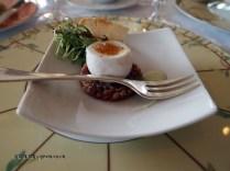 Quail's egg on steak tartare, The Waterside Inn, Bray