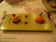 Shortbread biscuit with an apricot mousse and redcurrants, rosemary scented apricot sorbet, The Waterside Inn, Bray