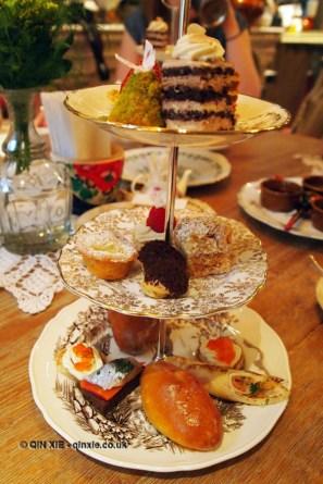 Three tier cake stand, Afternoon Tea at Mari Vanna, Knightsbridge