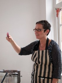 Demonstrating setness test, jam making with Vivien Lloyd