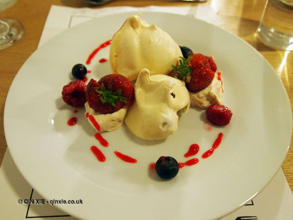 Eton Mess - berry ripple meringues, strawberry cream, raspberry coulis, fresh berries, Jimmy's Supper Club at Annex East