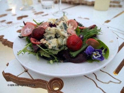 Mixed leaf salad with Strathdon blue cheese, pickled cherries and radishes, toasted oats and violas, British night, Global Feast 2012