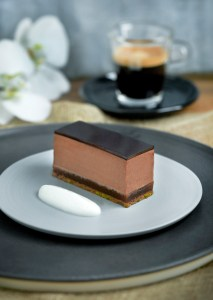Pave of bitter chocolate with burnt orange nd Ristretto coffee