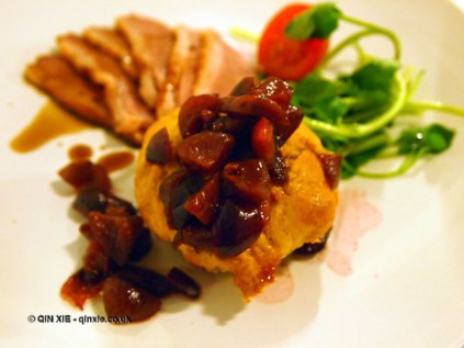 Smoked duck breast with cherry three ways - cherry compote, cherry coke reduction and savoury cherry and Earl Grey tea muffin, Jimmy's Supper Club at Annex East