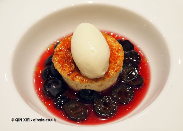 Crème brûlée with muscat grapes and Sauternes ice cream, Phil Howard's The Square, Mayfair