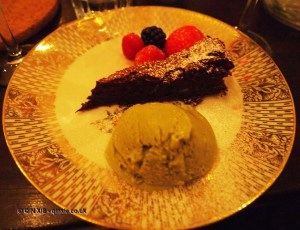 Flourless dark chocolate cake with whisky prunes, Luiz Hara, London Foodie Japanese Supperclub with Bordeaux Wine