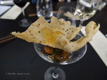 Foie Gras 'Martini' with umushu jelly, nashi and puffed rice, Wabi, Holborn