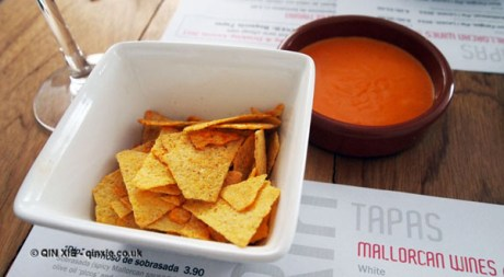 Sausage dip with chips at Mallorca Week, Boqueria, Brixton