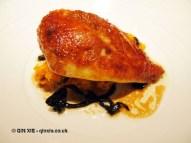 Guinea fowl with crushed potatoes and trompette de la mort, Sonny's Kitchen, Barnes