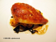 Guinea fowl with crushed potatoes and trompette de la mort, Sonny's Kitchen, Barnes