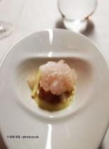 Mackerel – tartare, apple, celery, Balfour Rose granita, Bubbledogs Kitchen Table, Fitzrovia
