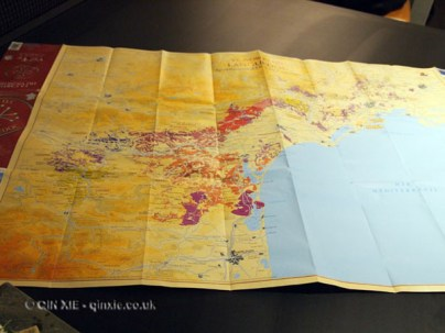 Map of region, Languedoc wines at Apero, Ampersand Hotel