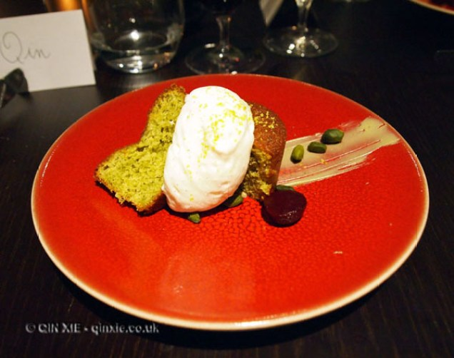 Pistachio and olive oil cake with vanilla ice cream, Languedoc wines at Apero, Ampersand Hotel