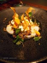 Ceviche of hand dived scallops, black quinoa, creme fraiche, Jerusalem artichokes and dill, L'Autre Pied, Marylebone