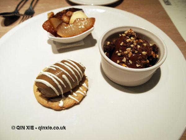 Trio of desserts, Sonny's Kitchen, Barnes