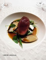 Venison – pickled blackberry, wild garlic, water celery, sheep sorrel, mushroom, Bubbledogs Kitchen Table, Fitzrovia