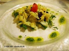 Codfish with Intosso olives, Locanda Manthone, Abruzzo