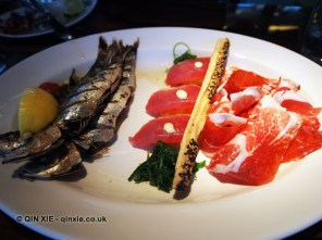 Grilled sardines, tuna nigiri, wagyu carpaccio, Catch by Simonis, The Hague