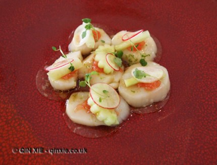 Marinated Scottish king scallops, kohlrabi, lime, grapefruit & soy dressing, Galvin at Windows, London